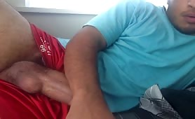 Cute latino rubbing his cock infront a webcam