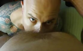 Hot Inked bald dude being face fucked by a hot huge cock daddy