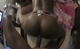 Grown men with a huge black cock banging a young ass