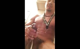 Sexy latin guy shooting a huge load