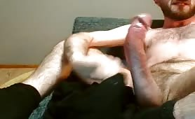 Massaging and slapping my huge cock