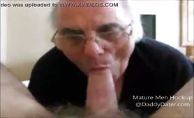 Old guy sucking on a nice big one