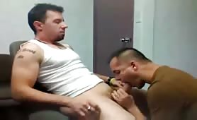 Sucking and eating a straight guy hole load