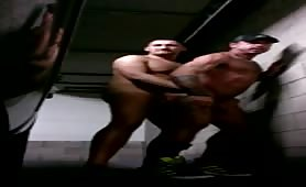 Raw naked fuck in a public parking garage