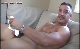 Sexy latin daddy jerking off
