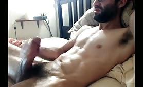 Sex black bearded dude stroking his tasty monster