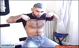 Hot hairy russian stud doing solo show