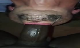 Latin dude choking on a huge donkey beefy cock