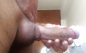 Big cock dad stroking his cock before going to work