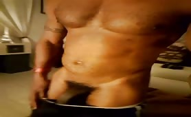 Verbal muscle black dad showing his tasty long cock