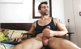 Hot spanish guy rubbing his fat tasty cock on a chair