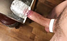 Horny dude slowly fucking his fleshlight