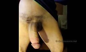 Horny guy showing his fat mushroom head cock
