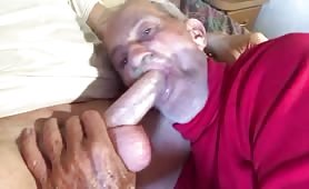 Horny grandpa pays his grandson to suck his cock