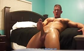 Sexy shaved dude showing his long monster