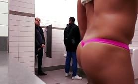 Public toilet exhibitionist