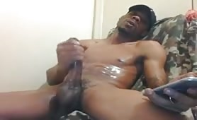 Black thug jerks off and shoots a huge load