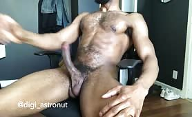 Hot bearded black dude stroking his cock solo