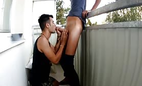 Young arab cum eater sucks me on a balcony