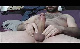 Bearded dude with a mushroom head cock shooting a huge load